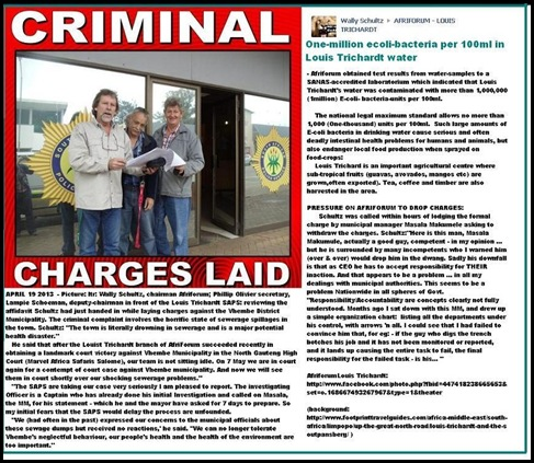 Louis Trichardt residents charge Vhembe municipality with criminal charge sewerage dumps April172013