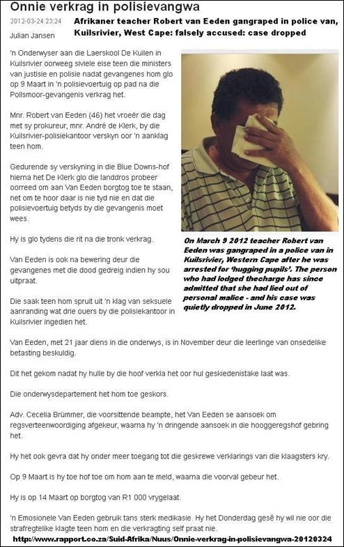 VAN EEDEN Robert 46 raped in Kuilsriver POLICE VAN after false accusation of hugging pupils