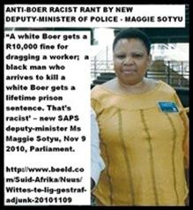 WHITES PUNISHED TOO LIGHTLY FOR CRIMES MAGGIE SOTYU RAGE DEPY POLICE MINSITER 20101109