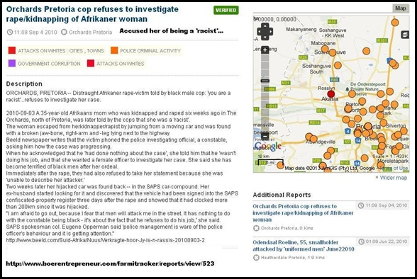 AFRIKANER WOMAN TOLD SHE IS RACIST COP REFUSES TO INVESTIGATE RAPE 20100903