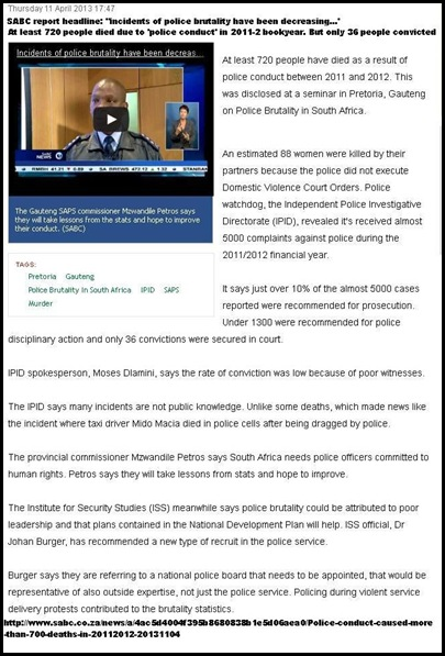 SAPS MISCONDUCT AND BRUTALITY 720 PEOPLE DIED 2011_2012 SABC REPORT 11april2013