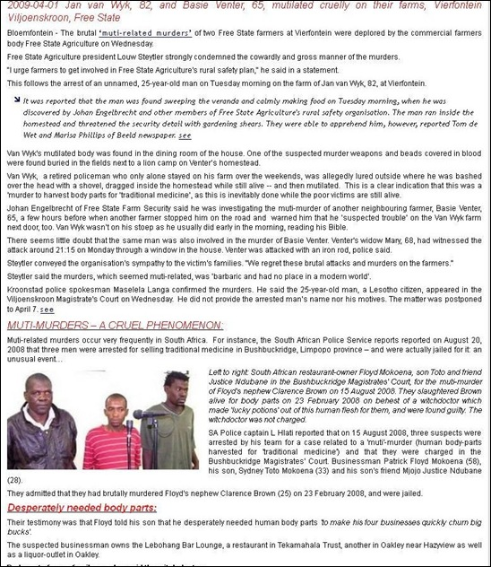 VanWykJan and VenterBasie farmers murdered by witchdoctor Mokoena who ate his body parts