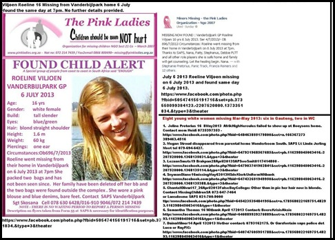 ViljoenRoeline15Missing6JulyFROMherHOMEFound6July2013