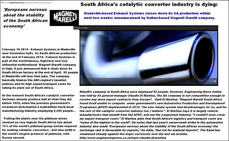 MagnetiMarelliExhaustSystemsClosesDownInSouthAfricaDueToANCpoliciesApr2014