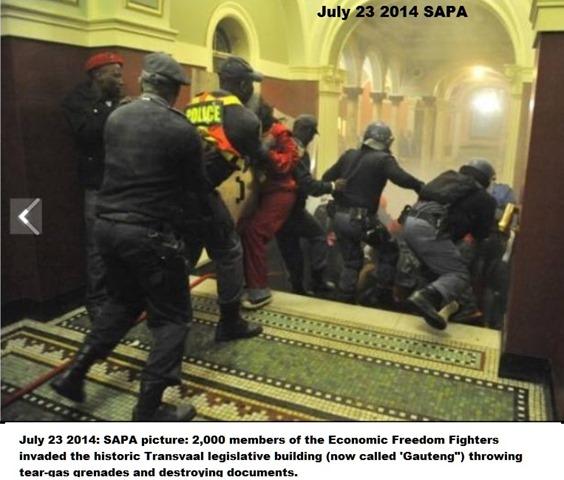 EconomicFreedomFightsInvadeSAParliamentAttackFightsJul232014